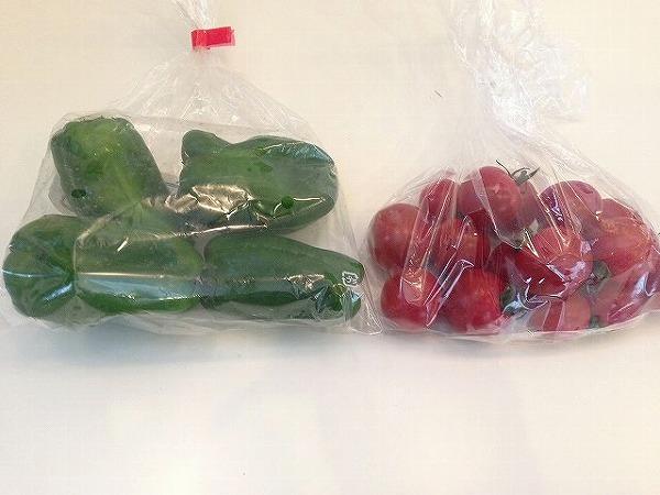 無農薬ミニトマトとピーマン