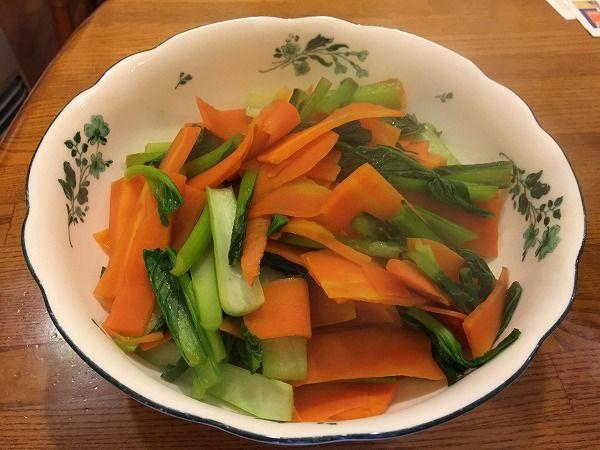 小松菜とにんじんのポン酢炒め