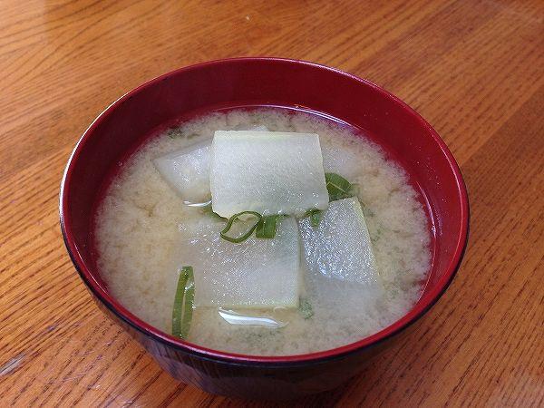 冬瓜(無農薬)の味噌汁