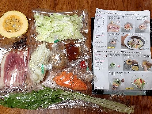 洋風野菜蒸し料理のレシピと食材