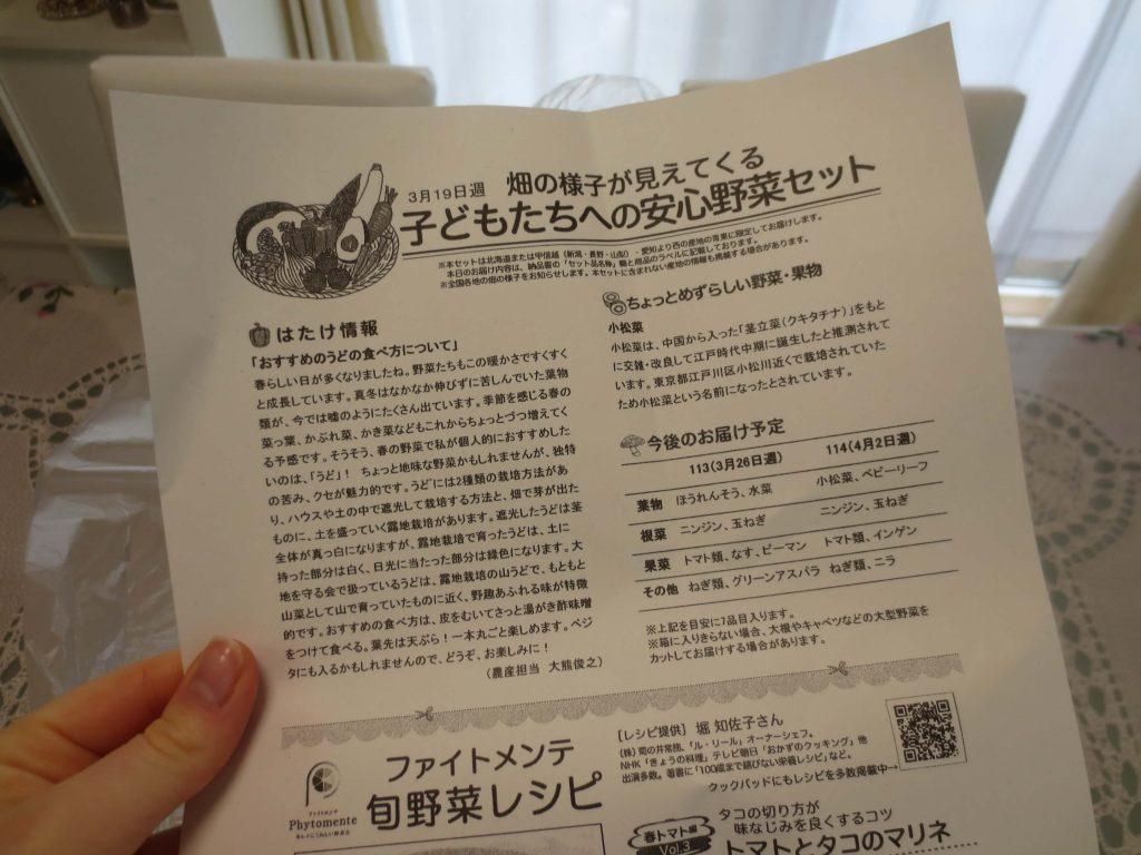 大地を守る会・子どもたちへの安心野菜セット・口コミ評判3