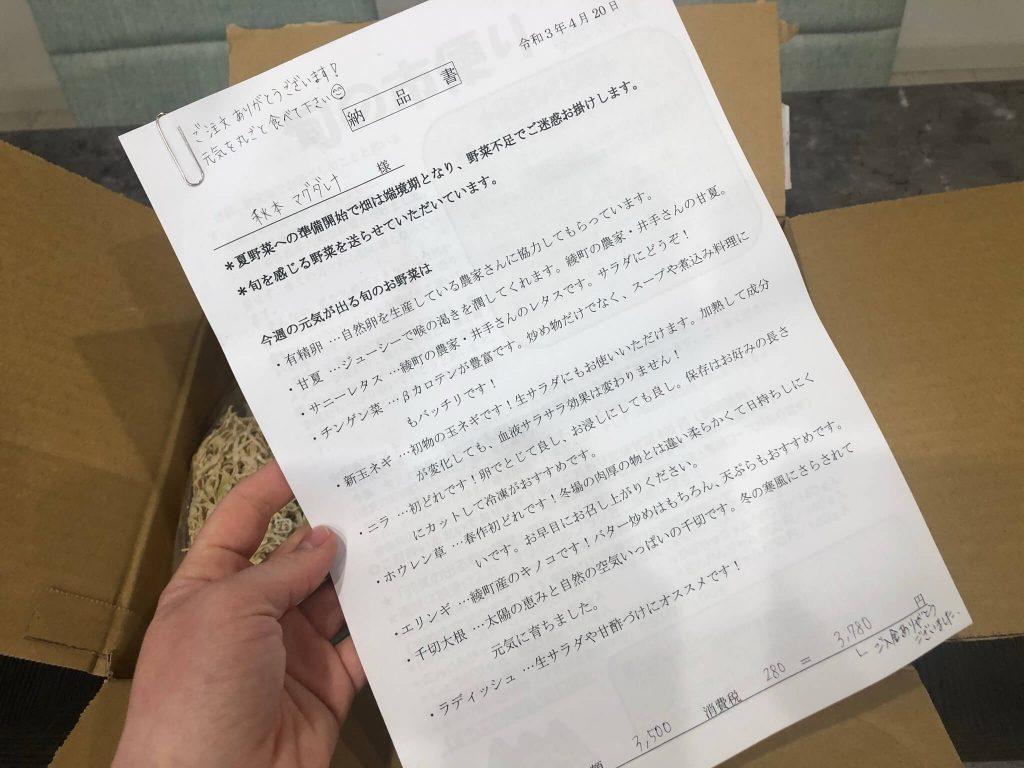 綾・早川農苑の無農薬野菜セットを注文17